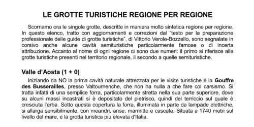 Le grotte regione per regione - V. Verole Bozzello